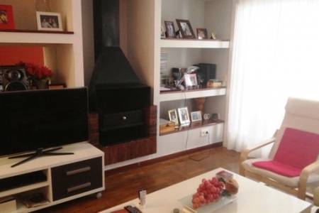 Living room with chimney